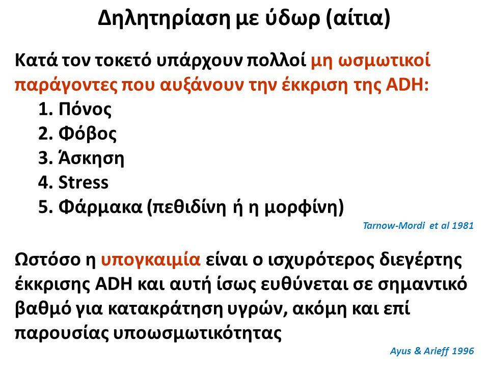 Δηλητηρίαση με ύδωρ (αίτια) Κατά τον τοκετό υπάρχουν πολλοί μη ωσμωτικοί παράγοντες που αυξάνουν την έκκριση της ADH: 1. Πόνος 2. Φόβος 3. Άσκηση 4. S