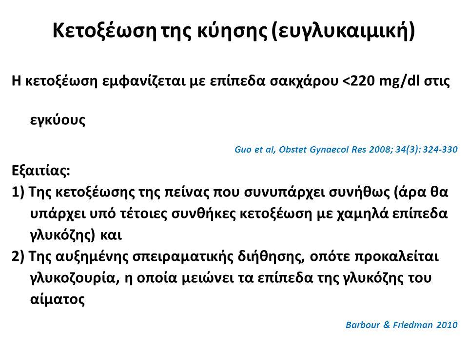 Κετοξέωση της κύησης (ευγλυκαιμική) Η κετοξέωση εμφανίζεται με επίπεδα σακχάρου <220 mg/dl στις εγκύους Guo et al, Obstet Gynaecol Res 2008; 34(3): 324-330 Εξαιτίας: 1) Της κετοξέωσης της πείνας που συνυπάρχει συνήθως (άρα θα υπάρχει υπό τέτοιες συνθήκες κετοξέωση με χαμηλά επίπεδα γλυκόζης) και 2) Της αυξημένης σπειραματικής διήθησης, οπότε προκαλείται γλυκοζουρία, η οποία μειώνει τα επίπεδα της γλυκόζης του αίματος Barbour & Friedman 2010