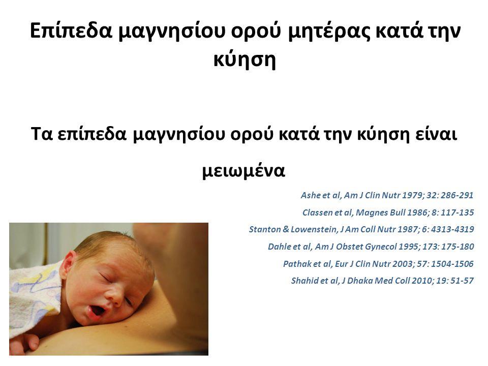 Επίπεδα μαγνησίου ορού μητέρας κατά την κύηση Τα επίπεδα μαγνησίου ορού κατά την κύηση είναι μειωμένα Ashe et al, Am J Clin Nutr 1979; 32: 286-291 Classen et al, Magnes Bull 1986; 8: 117-135 Stanton & Lowenstein, J Am Coll Nutr 1987; 6: 4313-4319 Dahle et al, Am J Obstet Gynecol 1995; 173: 175-180 Pathak et al, Eur J Clin Nutr 2003; 57: 1504-1506 Shahid et al, J Dhaka Med Coll 2010; 19: 51-57
