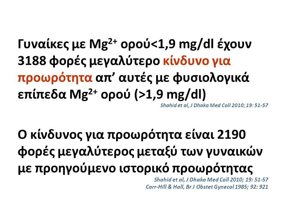 Γυναίκες με Mg 2+ ορού 1,9 mg/dl) Shahid et al, J Dhaka Med Coll 2010; 19: 51-57 Ο κίνδυνος για προωρότητα είναι 2190 φορές μεγαλύτερος μεταξύ των γυν