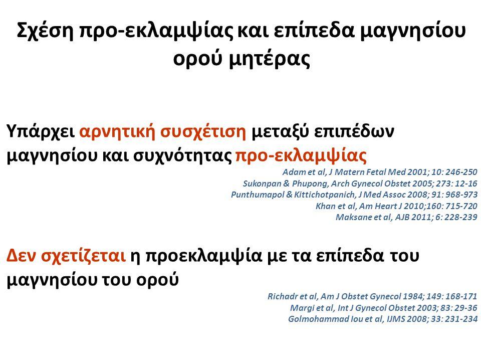 Σχέση προ-εκλαμψίας και επίπεδα μαγνησίου ορού μητέρας Υπάρχει αρνητική συσχέτιση μεταξύ επιπέδων μαγνησίου και συχνότητας προ-εκλαμψίας Adam et al, J Matern Fetal Med 2001; 10: 246-250 Sukonpan & Phupong, Arch Gynecol Obstet 2005; 273: 12-16 Punthumapol & Kittichotpanich, J Med Assoc 2008; 91: 968-973 Khan et al, Am Heart J 2010;160: 715-720 Maksane et al, AJB 2011; 6: 228-239 Δεν σχετίζεται η προεκλαμψία με τα επίπεδα του μαγνησίου του ορού Richadr et al, Am J Obstet Gynecol 1984; 149: 168-171 Margi et al, Int J Gynecol Obstet 2003; 83: 29-36 Golmohammad Iou et al, IJMS 2008; 33: 231-234