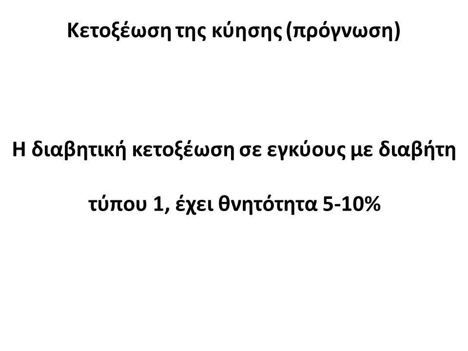 Κετοξέωση της κύησης (πρόγνωση) Η διαβητική κετοξέωση σε εγκύους με διαβήτη τύπου 1, έχει θνητότητα 5-10%