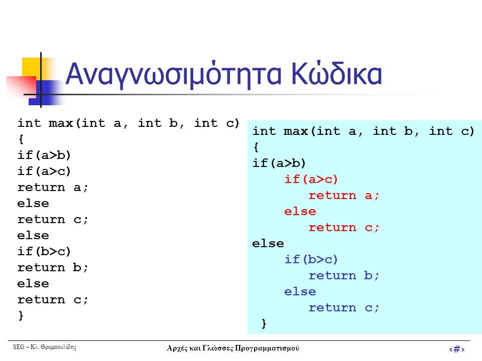 SEG – Κλ. Θραμπουλίδης Αρχές και Γλώσσες Προγραμματισμού ‹#› Αναγνωσιμότητα Κώδικα int max(int a, int b, int c) { if(a>b) if(a>c) return a; else retur