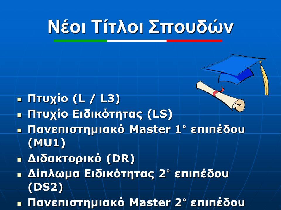 Νέοι Τίτλοι Σπουδών Πτυχίο (L / L3) Πτυχίο (L / L3) Πτυχίο Ειδικότητας (LS) Πτυχίο Ειδικότητας (LS) Πανεπιστημιακό Master 1° επιπέδου (MU1) Πανεπιστημ