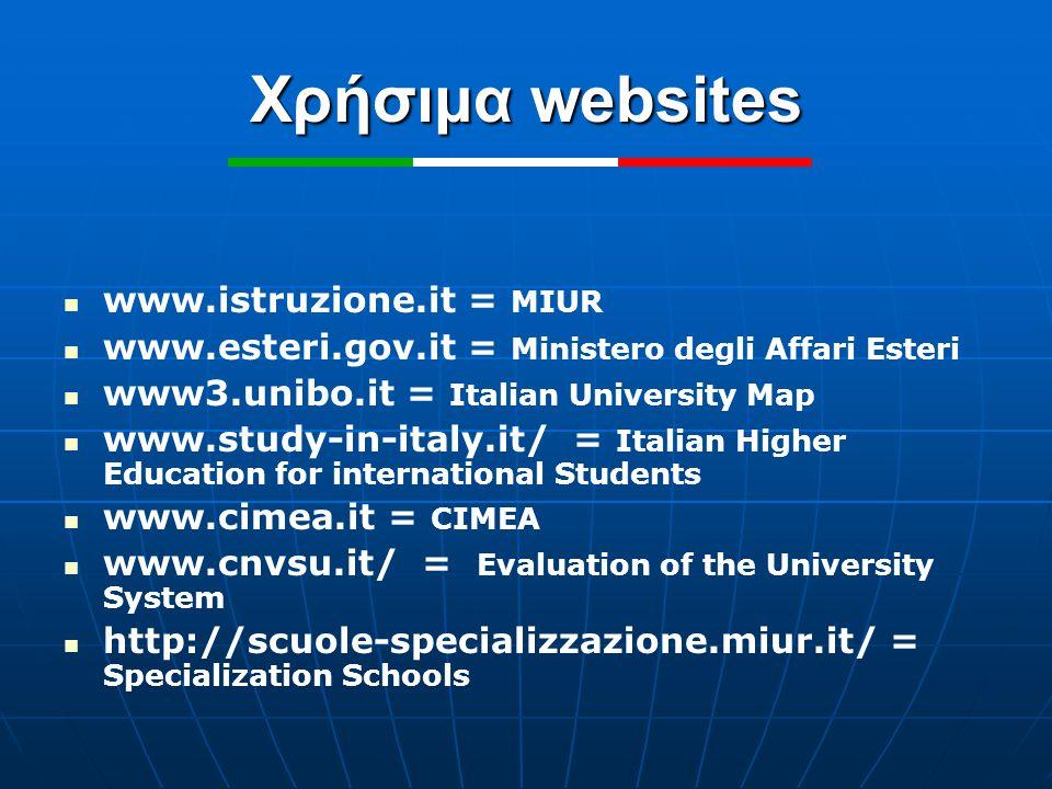 Χρήσιμα websites www.istruzione.it = MIUR www.esteri.gov.it = Ministero degli Affari Esteri www3.unibo.it = Italian University Map www.study-in-italy.