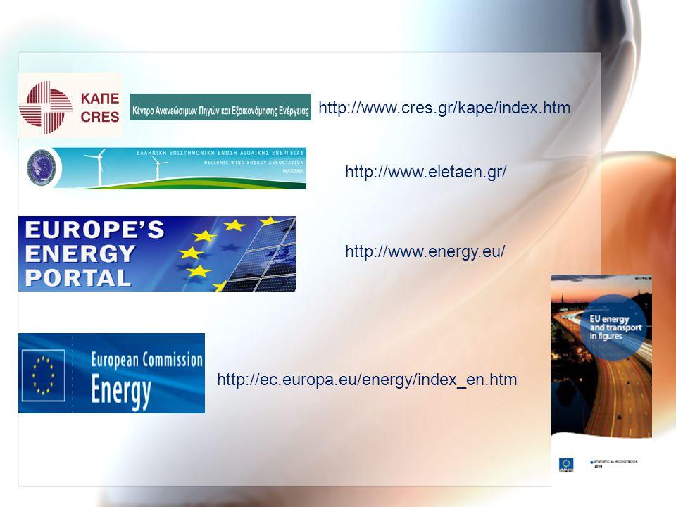 http://www.cres.gr/kape/index.htm http://www.energy.eu/ http://ec.europa.eu/energy/index_en.htm http://www.eletaen.gr/