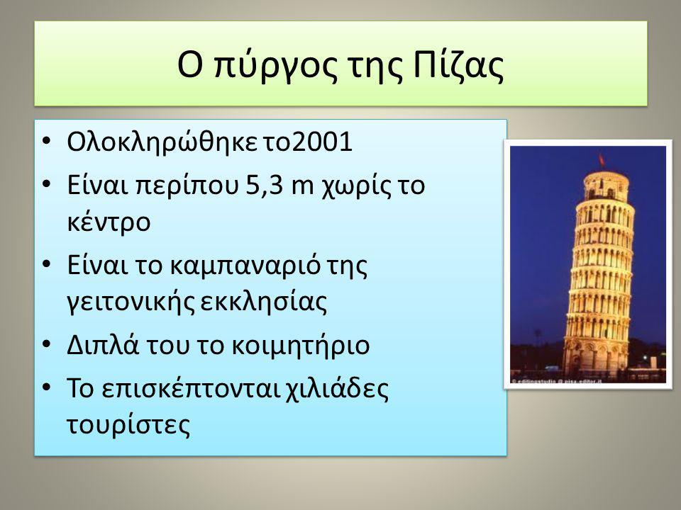 Ο πύργος της Πίζας Ολοκληρώθηκε το2001 Είναι περίπου 5,3 m χωρίς το κέντρο Είναι το καμπαναριό της γειτονικής εκκλησίας Διπλά του το κοιμητήριο Το επι