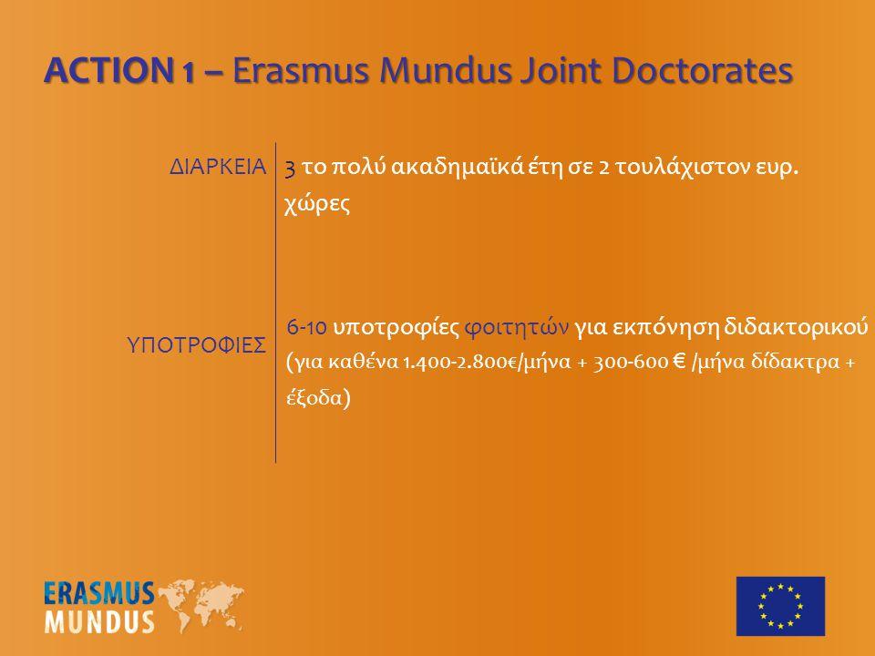 ACTION 1 – Erasmus Mundus Joint Doctorates 3 το πολύ ακαδημαϊκά έτη σε 2 τουλάχιστον ευρ.