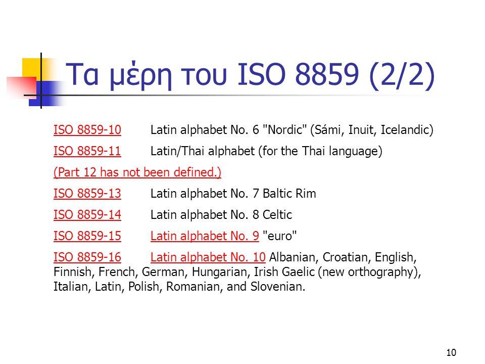 10 Τα μέρη του ISO 8859 (2/2) ISO 8859-10ISO 8859-10 Latin alphabet No. 6