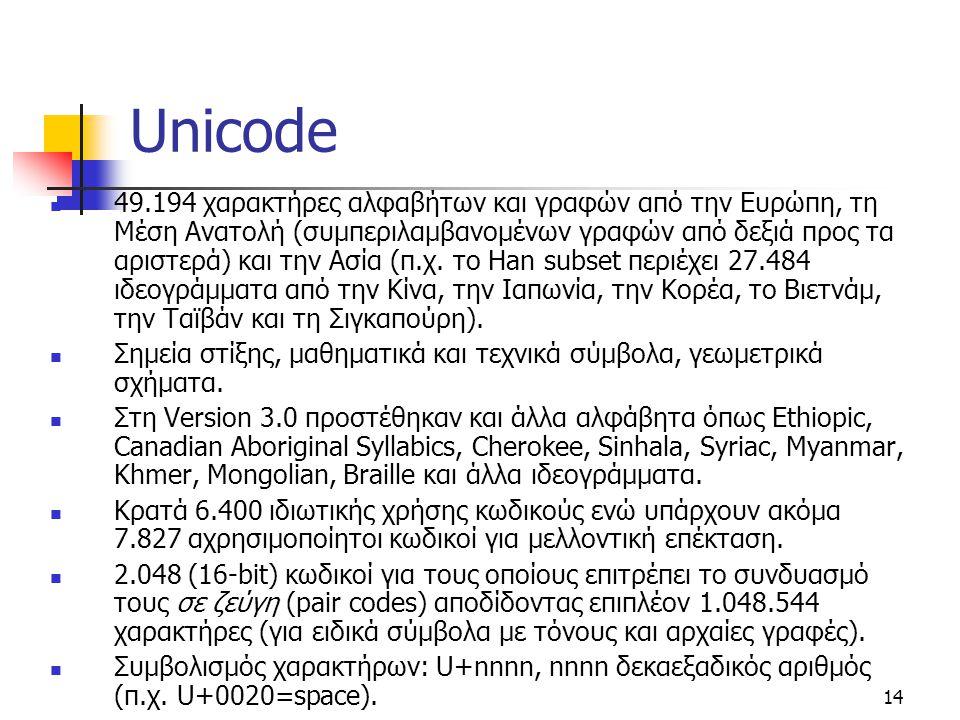 14 Unicode 49.194 χαρακτήρες αλφαβήτων και γραφών από την Ευρώπη, τη Μέση Ανατολή (συμπεριλαμβανομένων γραφών από δεξιά προς τα αριστερά) και την Ασία