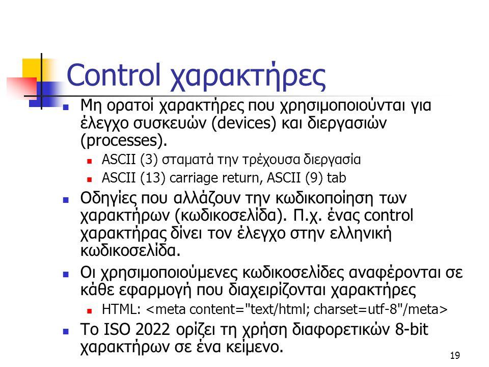 19 Control χαρακτήρες Μη ορατοί χαρακτήρες που χρησιμοποιούνται για έλεγχο συσκευών (devices) και διεργασιών (processes). ASCII (3) σταματά την τρέχου
