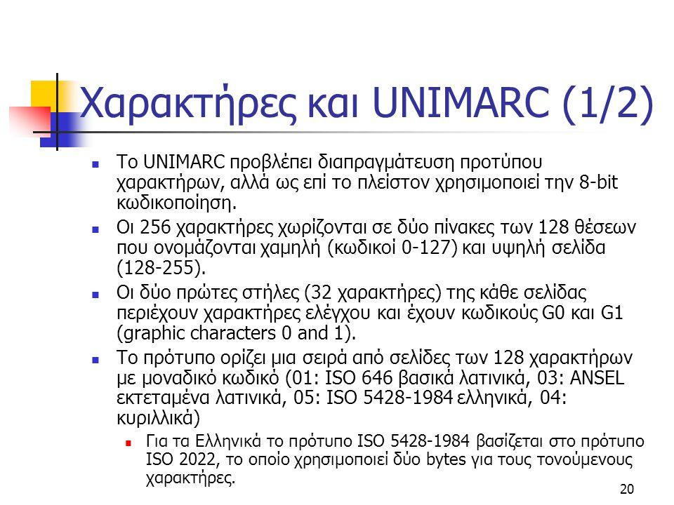 20 Χαρακτήρες και UNIMARC (1/2) To UNIMARC προβλέπει διαπραγμάτευση προτύπου χαρακτήρων, αλλά ως επί το πλείστον χρησιμοποιεί την 8-bit κωδικοποίηση.