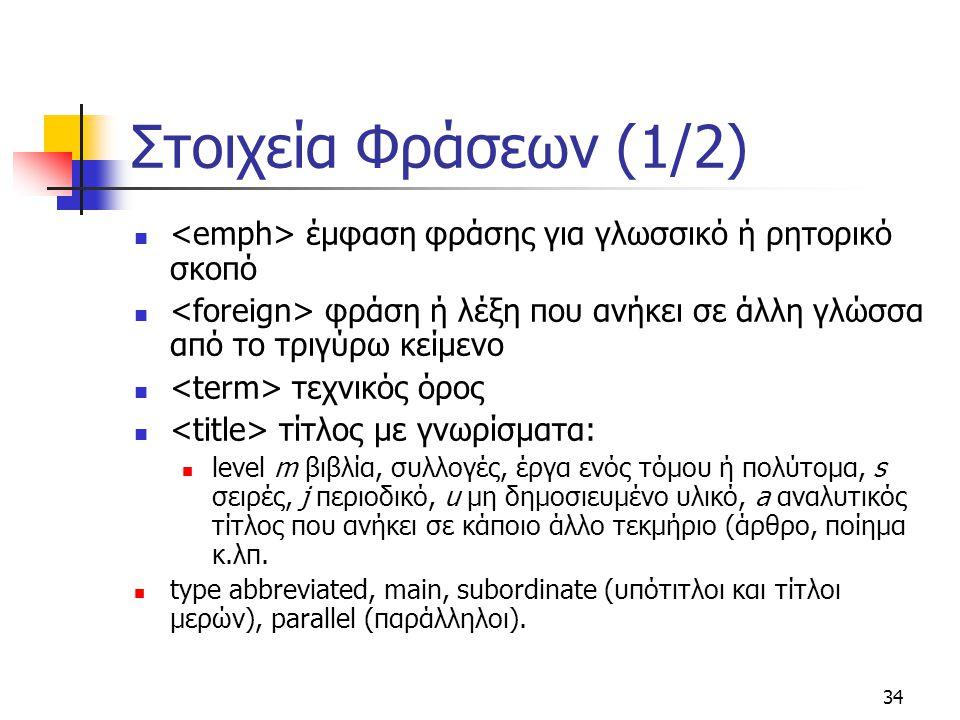 34 Στοιχεία Φράσεων (1/2) έμφαση φράσης για γλωσσικό ή ρητορικό σκοπό φράση ή λέξη που ανήκει σε άλλη γλώσσα από το τριγύρω κείμενο τεχνικός όρος τίτλ