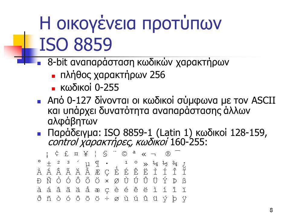 8 Η οικογένεια προτύπων ISO 8859 8-bit αναπαράσταση κωδικών χαρακτήρων πλήθος χαρακτήρων 256 κωδικοί 0-255 Από 0-127 δίνονται οι κωδικοί σύμφωνα με το