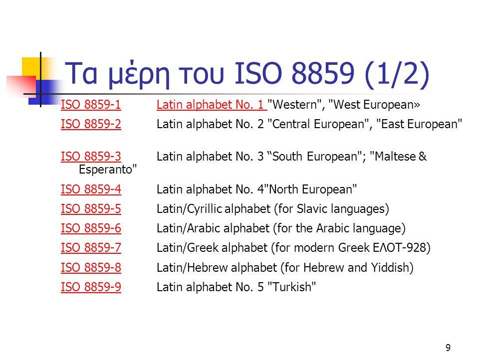 9 Τα μέρη του ISO 8859 (1/2) ISO 8859-1ISO 8859-1 Latin alphabet No. 1