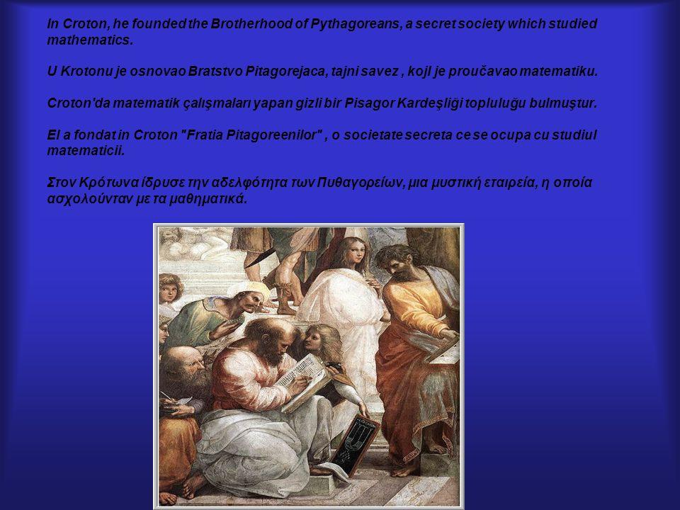 The Pythagoreans had a motto: ALL IS NUMBER Pitagorejci su imali motto: SVE JE BROJ .