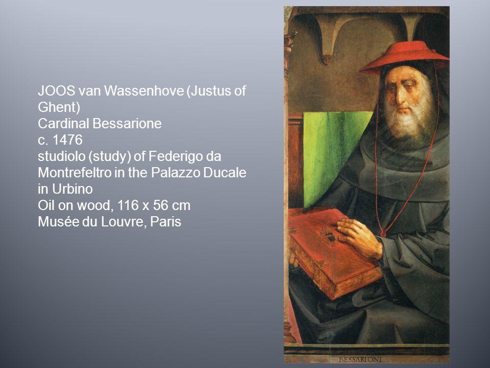 JOOS van Wassenhove (Justus of Ghent) Cardinal Bessarione c. 1476 studiolo (study) of Federigo da Montrefeltro in the Palazzo Ducale in Urbino Oil on