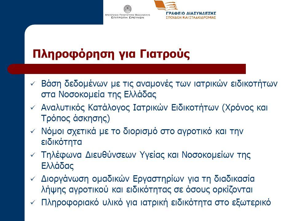Πληροφόρηση για Γιατρούς Βάση δεδομένων με τις αναμονές των ιατρικών ειδικοτήτων στα Νοσοκομεία της Ελλάδας Αναλυτικός Κατάλογος Ιατρικών Ειδικοτήτων (Χρόνος και Τρόπος άσκησης) Νόμοι σχετικά με το διορισμό στο αγροτικό και την ειδικότητα Τηλέφωνα Διευθύνσεων Υγείας και Νοσοκομείων της Ελλάδας Διοργάνωση ομαδικών Εργαστηρίων για τη διαδικασία λήψης αγροτικού και ειδικότητας σε όσους ορκίζονται Πληροφοριακό υλικό για ιατρική ειδικότητα στο εξωτερικό