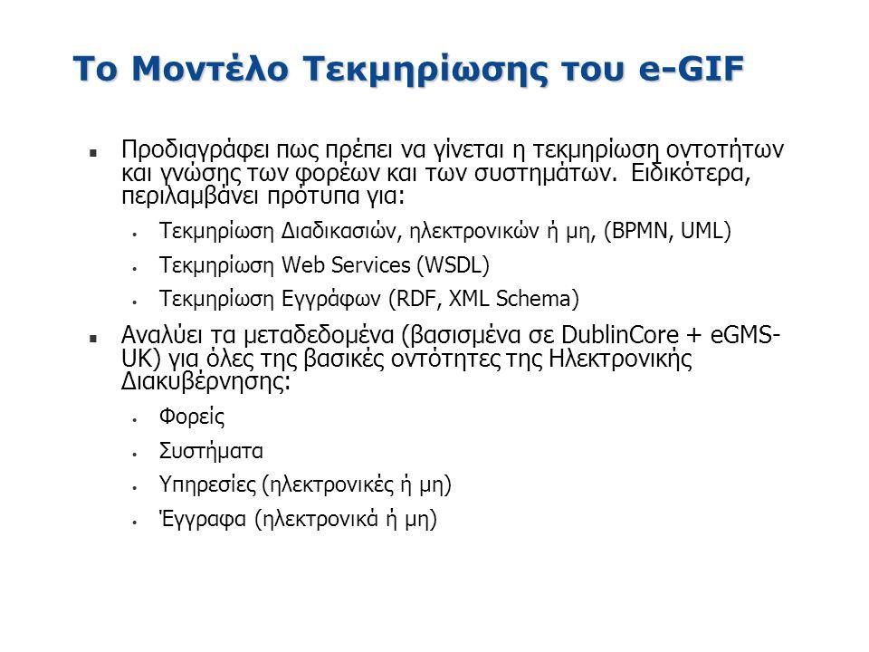 Το Μοντέλο Τεκμηρίωσης του e-GIF n Προδιαγράφει πως πρέπει να γίνεται η τεκμηρίωση οντοτήτων και γνώσης των φορέων και των συστημάτων. Ειδικότερα, περ