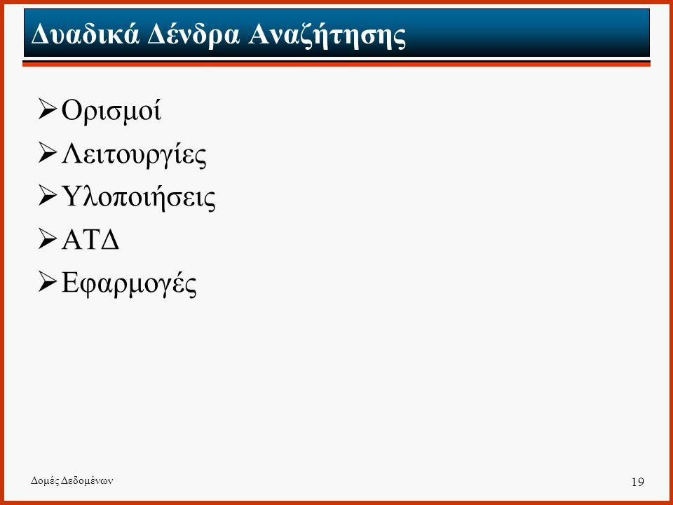 Δομές Δεδομένων 19 Δυαδικά Δένδρα Αναζήτησης  Ορισμοί  Λειτουργίες  Υλοποιήσεις  ΑΤΔ  Εφαρμογές