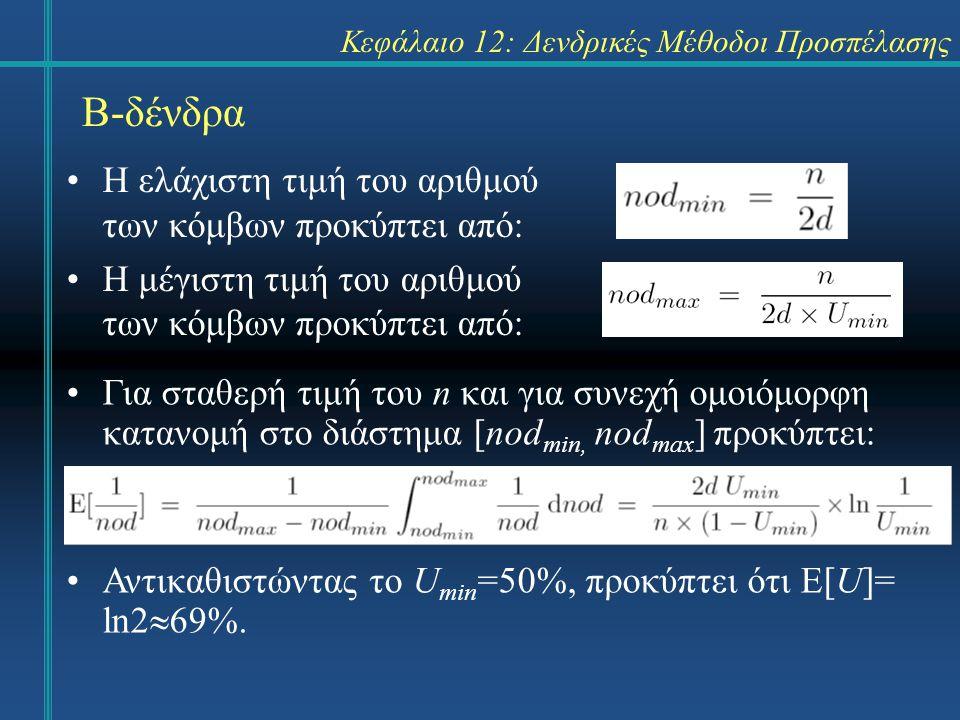 Κεφάλαιο 12: Δενδρικές Μέθοδοι Προσπέλασης Β-δένδρα Η ελάχιστη τιμή του αριθμού των κόμβων προκύπτει από: Η μέγιστη τιμή του αριθμού των κόμβων προκύπτει από: Για σταθερή τιμή του n και για συνεχή ομοιόμορφη κατανομή στο διάστημα [nod min, nod max ] προκύπτει: Αντικαθιστώντας το U min =50%, προκύπτει ότι Ε[U]= ln2  69%.
