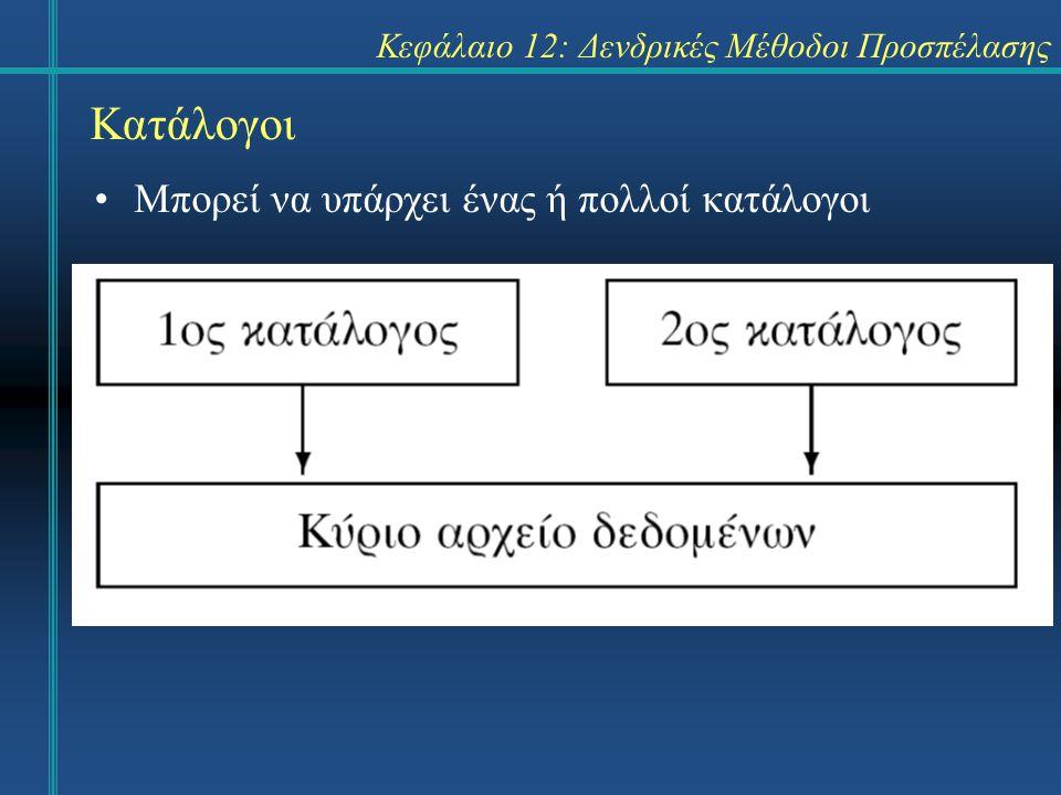 Κεφάλαιο 12: Δενδρικές Μέθοδοι Προσπέλασης Κατάλογοι Μπορεί να υπάρχει ένας ή πολλοί κατάλογοι