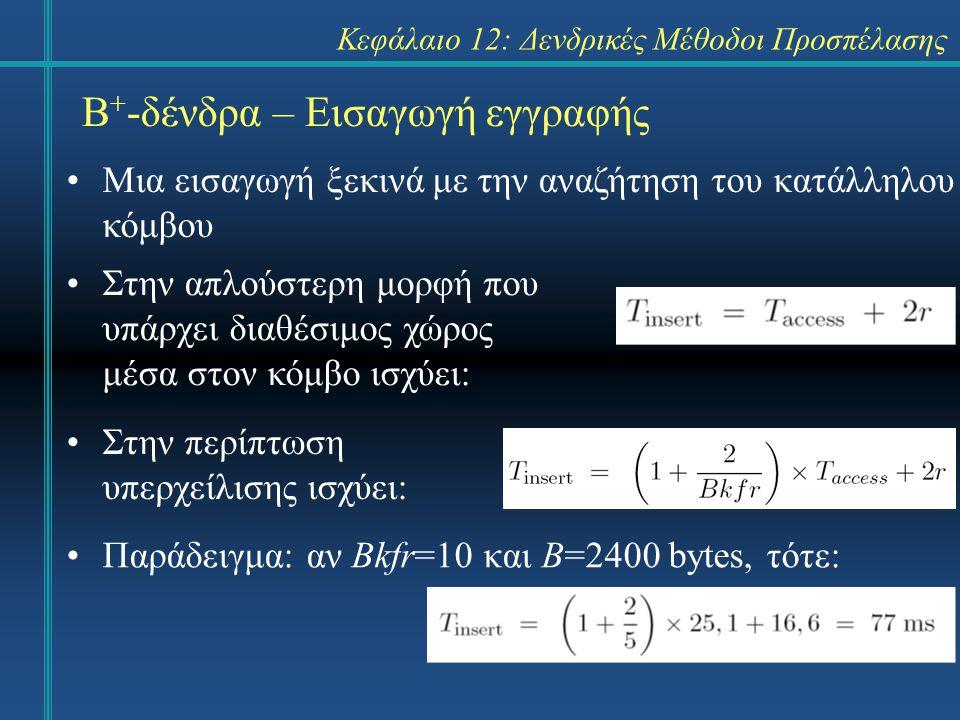 Κεφάλαιο 12: Δενδρικές Μέθοδοι Προσπέλασης Β + -δένδρα – Εισαγωγή εγγραφής Μια εισαγωγή ξεκινά με την αναζήτηση του κατάλληλου κόμβου Στην απλούστερη μορφή που υπάρχει διαθέσιμος χώρος μέσα στον κόμβο ισχύει: Παράδειγμα: αν Bkfr=10 και Β=2400 bytes, τότε: Στην περίπτωση υπερχείλισης ισχύει: