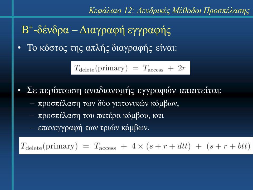 Κεφάλαιο 12: Δενδρικές Μέθοδοι Προσπέλασης Β + -δένδρα – Διαγραφή εγγραφής Το κόστος της απλής διαγραφής είναι: Σε περίπτωση αναδιανομής εγγραφών απαιτείται: –προσπέλαση των δύο γειτονικών κόμβων, –προσπέλαση του πατέρα κόμβου, και –επανεγγραφή των τριών κόμβων.