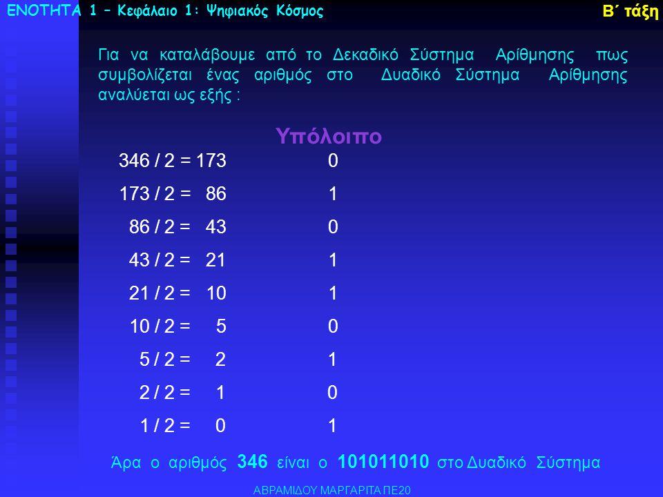 Μονάδες Πολλαπλασίων του Byte 1 KiloByte ή KB ισούται με 2 10 =1024 Byte ~1.000 Byte 1 MegaByte ή MB ισούται με 2 20 =1024 KB ~1.000 KB 1 GigaByte ή GB ισούται με 2 30 =1024 MB ~1.000 MB 1 TeraByte ή TB ισούται με 2 40 =1024 GB ~1.000 GB ΕΝΟΤΗΤΑ 1 – Κεφάλαιο 1: Ψηφιακός Κόσμος Β΄ τάξη 1 Byte = 8 bit Το δυαδικό ψηφίο που μπορεί να παίρνει τιμές μόνο 0 ή 1 ονομάζεται Bit ΑΒΡΑΜΙΔΟΥ ΜΑΡΓΑΡΙΤΑ ΠΕ20