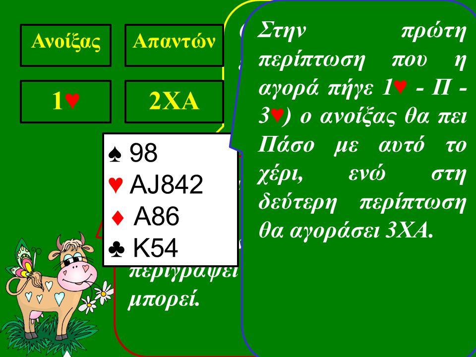 Ο απαντών δείχνει ένα χέρι με 13-15 πόντους και δηλώνει ότι δεν του αρέσουν οι κούπες σαν χρώμα για ατού ΑνοίξαςΑπαντών 1♥1♥ 2XA Το μήνυμα που δίνει στον ανοίξαντα είναι να αγοράσει υποχρεωτικά (Forcing) και να περιγράψει το χέρι όσο καλύτερα μπορεί.