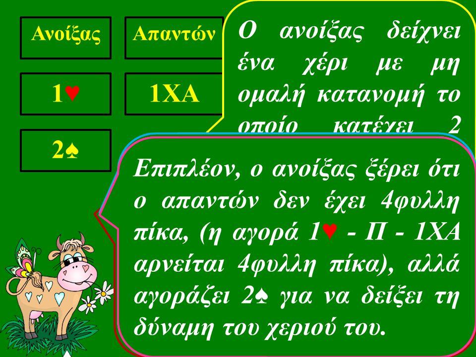 ΑνοίξαςΑπαντών 1♥1♥ 1ΧΑ 2♠2♠ Σε αυτή την περίπτωση ο ανοίξας έχει αγοράσει σαν δεύτερο χρώ- μα, χρώμα ιεραρχικά ανώτερο του πρώτου.