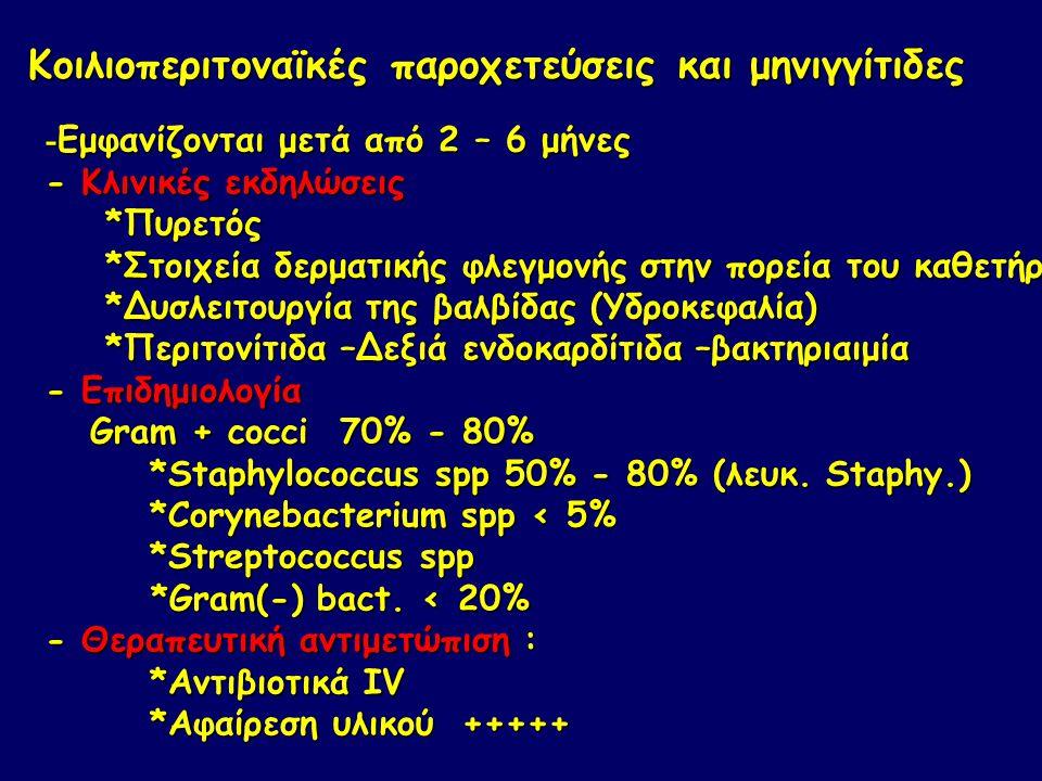 Κοιλιοπεριτοναϊκές παροχετεύσεις και μηνιγγίτιδες - Εμφανίζονται μετά από 2 – 6 μήνες - Κλινικές εκδηλώσεις *Πυρετός *Πυρετός *Στοιχεία δερματικής φλεγμονής στην πορεία του καθετήρα *Στοιχεία δερματικής φλεγμονής στην πορεία του καθετήρα *Δυσλειτουργία της βαλβίδας (Υδροκεφαλία) *Δυσλειτουργία της βαλβίδας (Υδροκεφαλία) *Περιτονίτιδα –Δεξιά ενδοκαρδίτιδα –βακτηριαιμία *Περιτονίτιδα –Δεξιά ενδοκαρδίτιδα –βακτηριαιμία - Επιδημιολογία Gram + cocci 70% - 80% Gram + cocci 70% - 80% *Staphylococcus spp 50% - 80% (λευκ.