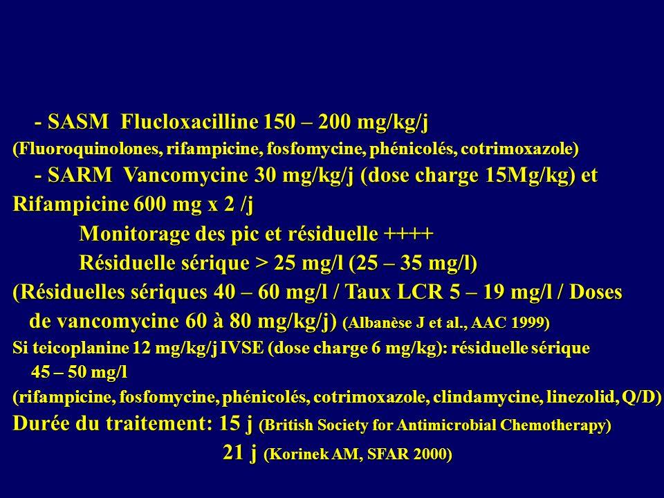 - SASM Flucloxacilline 150 – 200 mg/kg/j - SASM Flucloxacilline 150 – 200 mg/kg/j (Fluoroquinolones, rifampicine, fosfomycine, phénicolés, cotrimoxazole) - SARM Vancomycine 30 mg/kg/j (dose charge 15Mg/kg) et - SARM Vancomycine 30 mg/kg/j (dose charge 15Mg/kg) et Rifampicine 600 mg x 2 /j Monitorage des pic et résiduelle ++++ Résiduelle sérique > 25 mg/l (25 – 35 mg/l) (Résiduelles sériques 40 – 60 mg/l / Taux LCR 5 – 19 mg/l / Doses de vancomycine 60 à 80 mg/kg/j) (Albanèse J et al., AAC 1999) de vancomycine 60 à 80 mg/kg/j) (Albanèse J et al., AAC 1999) Si teicoplanine 12 mg/kg/j IVSE (dose charge 6 mg/kg): résiduelle sérique 45 – 50 mg/l 45 – 50 mg/l (rifampicine, fosfomycine, phénicolés, cotrimoxazole, clindamycine, linezolid, Q/D) Durée du traitement: 15 j (British Society for Antimicrobial Chemotherapy) 21 j (Korinek AM, SFAR 2000) 21 j (Korinek AM, SFAR 2000)