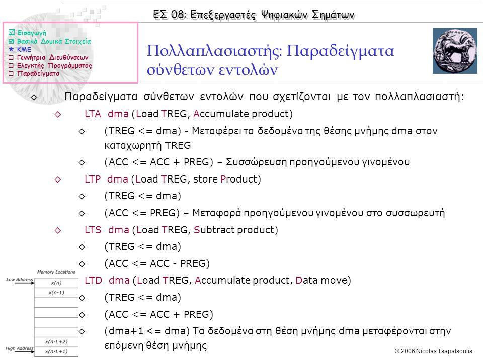 ΕΣ 08: Επεξεργαστές Ψηφιακών Σημάτων © 2006 Nicolas Tsapatsoulis Πολλαπλασιαστής: Παραδείγματα σύνθετων εντολών ◊Παραδείγματα σύνθετων εντολών που σχετίζονται με τον πολλαπλασιαστή: ◊LTA dma (Load TREG, Accumulate product) ◊(TREG <= dma) - Μεταφέρει τα δεδομένα της θέσης μνήμης dma στον καταχωρητή TREG ◊(ACC <= ACC + PREG) – Συσσώρευση προηγούμενου γινομένου ◊LTP dma (Load TREG, store Product) ◊(TREG <= dma) ◊(ACC <= PREG) – Μεταφορά προηγούμενου γινομένου στο συσσωρευτή ◊LTS dma (Load TREG, Subtract product) ◊(TREG <= dma) ◊(ACC <= ACC - PREG) ◊LTD dma (Load TREG, Accumulate product, Data move) ◊(TREG <= dma) ◊(ACC <= ACC + PREG) ◊(dma+1 <= dma) Τα δεδομένα στη θέση μνήμης dma μεταφέρονται στην επόμενη θέση μνήμης  Εισαγωγή  Βασικά Δομικά Στοιχεία  ΚΜΕ  Γεννήτρια Διευθύνσεων  Ελεγκτής Προγράμματος  Παραδείγματα