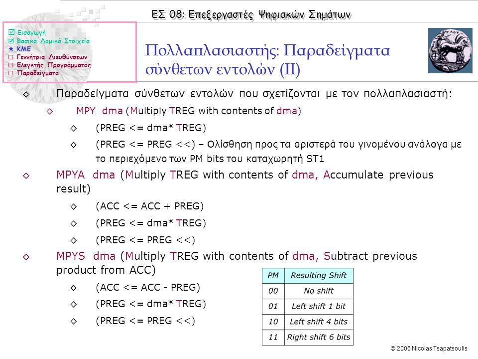 ΕΣ 08: Επεξεργαστές Ψηφιακών Σημάτων © 2006 Nicolas Tsapatsoulis Πολλαπλασιαστής: Παραδείγματα σύνθετων εντολών (ΙΙ) ◊Παραδείγματα σύνθετων εντολών που σχετίζονται με τον πολλαπλασιαστή: ◊MPY dma (Multiply TREG with contents of dma) ◊(PREG <= dma* TREG) ◊(PREG <= PREG <<) – Ολίσθηση προς τα αριστερά του γινομένου ανάλογα με το περιεχόμενο των PM bits του καταχωρητή ST1 ◊MPYA dma (Multiply TREG with contents of dma, Accumulate previous result) ◊(ACC <= ACC + PREG) ◊(PREG <= dma* TREG) ◊(PREG <= PREG <<) ◊MPYS dma (Multiply TREG with contents of dma, Subtract previous product from ACC) ◊(ACC <= ACC - PREG) ◊(PREG <= dma* TREG) ◊(PREG <= PREG <<)  Εισαγωγή  Βασικά Δομικά Στοιχεία  ΚΜΕ  Γεννήτρια Διευθύνσεων  Ελεγκτής Προγράμματος  Παραδείγματα