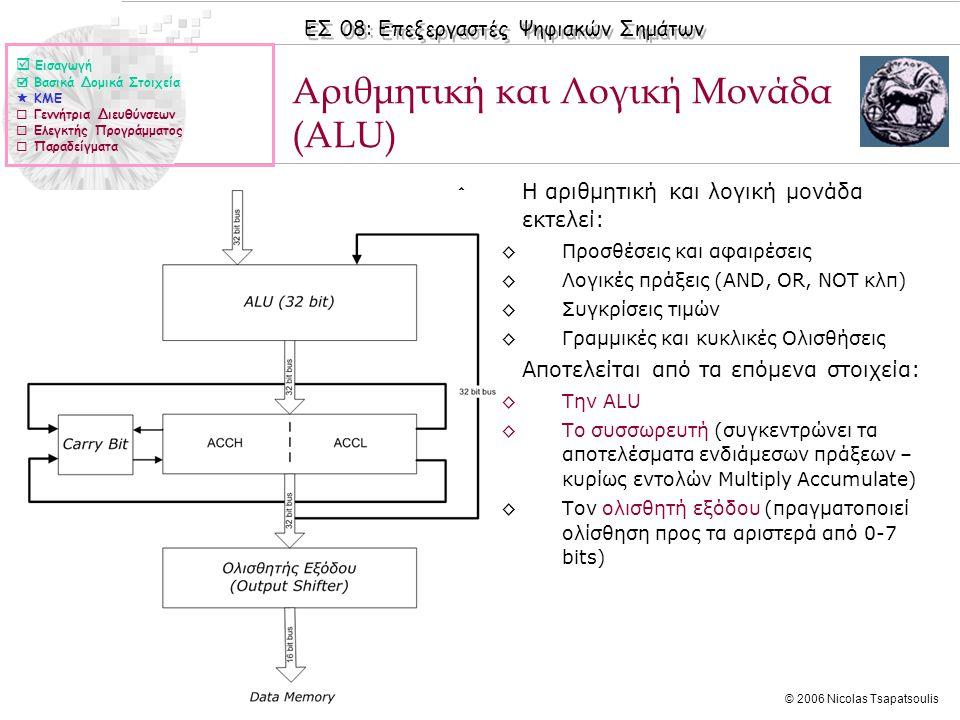 ΕΣ 08: Επεξεργαστές Ψηφιακών Σημάτων © 2006 Nicolas Tsapatsoulis Αριθμητική και Λογική Μονάδα (ALU) ◊Η αριθμητική και λογική μονάδα εκτελεί: ◊Προσθέσεις και αφαιρέσεις ◊Λογικές πράξεις (AND, OR, NOT κλπ) ◊Συγκρίσεις τιμών ◊Γραμμικές και κυκλικές Ολισθήσεις ◊Αποτελείται από τα επόμενα στοιχεία: ◊Την ALU ◊Το συσσωρευτή (συγκεντρώνει τα αποτελέσματα ενδιάμεσων πράξεων – κυρίως εντολών Multiply Accumulate) ◊Τον ολισθητή εξόδου (πραγματοποιεί ολίσθηση προς τα αριστερά από 0-7 bits)  Εισαγωγή  Βασικά Δομικά Στοιχεία  ΚΜΕ  Γεννήτρια Διευθύνσεων  Ελεγκτής Προγράμματος  Παραδείγματα