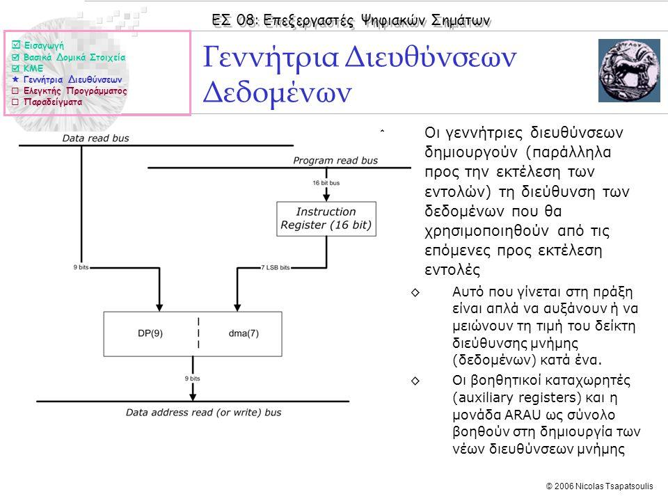 ΕΣ 08: Επεξεργαστές Ψηφιακών Σημάτων © 2006 Nicolas Tsapatsoulis ◊Οι γεννήτριες διευθύνσεων δημιουργούν (παράλληλα προς την εκτέλεση των εντολών) τη διεύθυνση των δεδομένων που θα χρησιμοποιηθούν από τις επόμενες προς εκτέλεση εντολές ◊Αυτό που γίνεται στη πράξη είναι απλά να αυξάνουν ή να μειώνουν τη τιμή του δείκτη διεύθυνσης μνήμης (δεδομένων) κατά ένα.