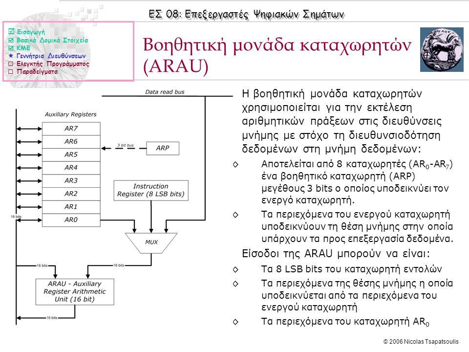 ΕΣ 08: Επεξεργαστές Ψηφιακών Σημάτων © 2006 Nicolas Tsapatsoulis Βοηθητική μονάδα καταχωρητών (ARAU) ◊Η βοηθητική μονάδα καταχωρητών χρησιμοποιείται για την εκτέλεση αριθμητικών πράξεων στις διευθύνσεις μνήμης με στόχο τη διευθυνσιοδότηση δεδομένων στη μνήμη δεδομένων: ◊Αποτελείται από 8 καταχωρητές (AR 0 -AR 7 ) ένα βοηθητικό καταχωρητή (ARP) μεγέθους 3 bits ο οποίος υποδεικνύει τον ενεργό καταχωρητή.