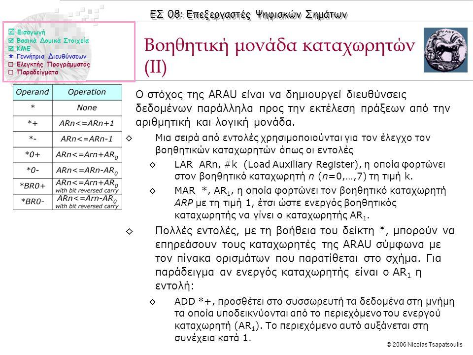 ΕΣ 08: Επεξεργαστές Ψηφιακών Σημάτων © 2006 Nicolas Tsapatsoulis Βοηθητική μονάδα καταχωρητών (II) ◊Ο στόχος της ARAU είναι να δημιουργεί διευθύνσεις δεδομένων παράλληλα προς την εκτέλεση πράξεων από την αριθμητική και λογική μονάδα.