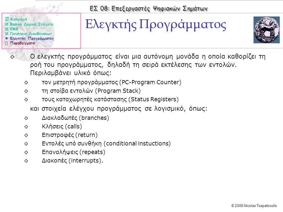 ΕΣ 08: Επεξεργαστές Ψηφιακών Σημάτων © 2006 Nicolas Tsapatsoulis ◊Ο ελεγκτής προγράμματος είναι μια αυτόνομη μονάδα η οποία καθορίζει τη ροή του προγράμματος, δηλαδή τη σειρά εκτέλεσης των εντολών.