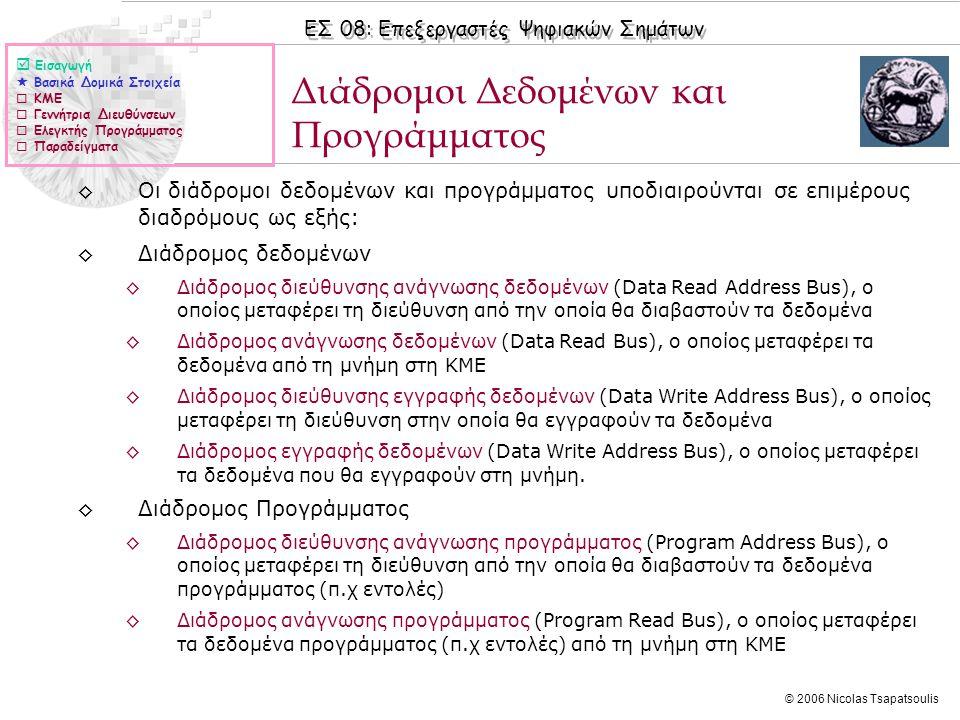 ΕΣ 08: Επεξεργαστές Ψηφιακών Σημάτων © 2006 Nicolas Tsapatsoulis ◊Οι διάδρομοι δεδομένων και προγράμματος υποδιαιρούνται σε επιμέρους διαδρόμους ως εξής: ◊Διάδρομος δεδομένων ◊Διάδρομος διεύθυνσης ανάγνωσης δεδομένων (Data Read Address Bus), ο οποίος μεταφέρει τη διεύθυνση από την οποία θα διαβαστούν τα δεδομένα ◊Διάδρομος ανάγνωσης δεδομένων (Data Read Bus), ο οποίος μεταφέρει τα δεδομένα από τη μνήμη στη ΚΜΕ ◊Διάδρομος διεύθυνσης εγγραφής δεδομένων (Data Write Address Bus), ο οποίος μεταφέρει τη διεύθυνση στην οποία θα εγγραφούν τα δεδομένα ◊Διάδρομος εγγραφής δεδομένων (Data Write Address Bus), ο οποίος μεταφέρει τα δεδομένα που θα εγγραφούν στη μνήμη.