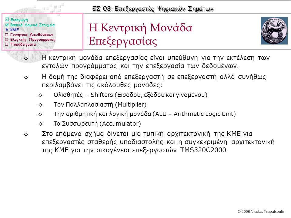 ΕΣ 08: Επεξεργαστές Ψηφιακών Σημάτων © 2006 Nicolas Tsapatsoulis ◊Η κεντρική μονάδα επεξεργασίας είναι υπεύθυνη για την εκτέλεση των εντολών προγράμματος και την επεξεργασία των δεδομένων.