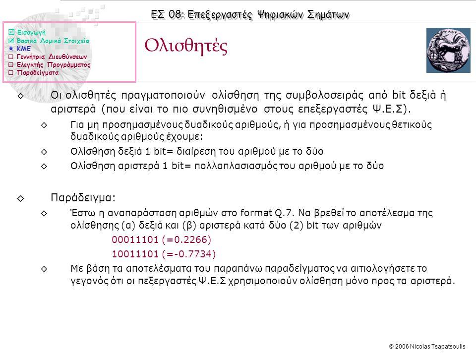 ΕΣ 08: Επεξεργαστές Ψηφιακών Σημάτων © 2006 Nicolas Tsapatsoulis Ολισθητές ◊Οι ολισθητές πραγματοποιούν ολίσθηση της συμβολοσειράς από bit δεξιά ή αριστερά (που είναι το πιο συνηθισμένο στους επεξεργαστές Ψ.Ε.Σ).