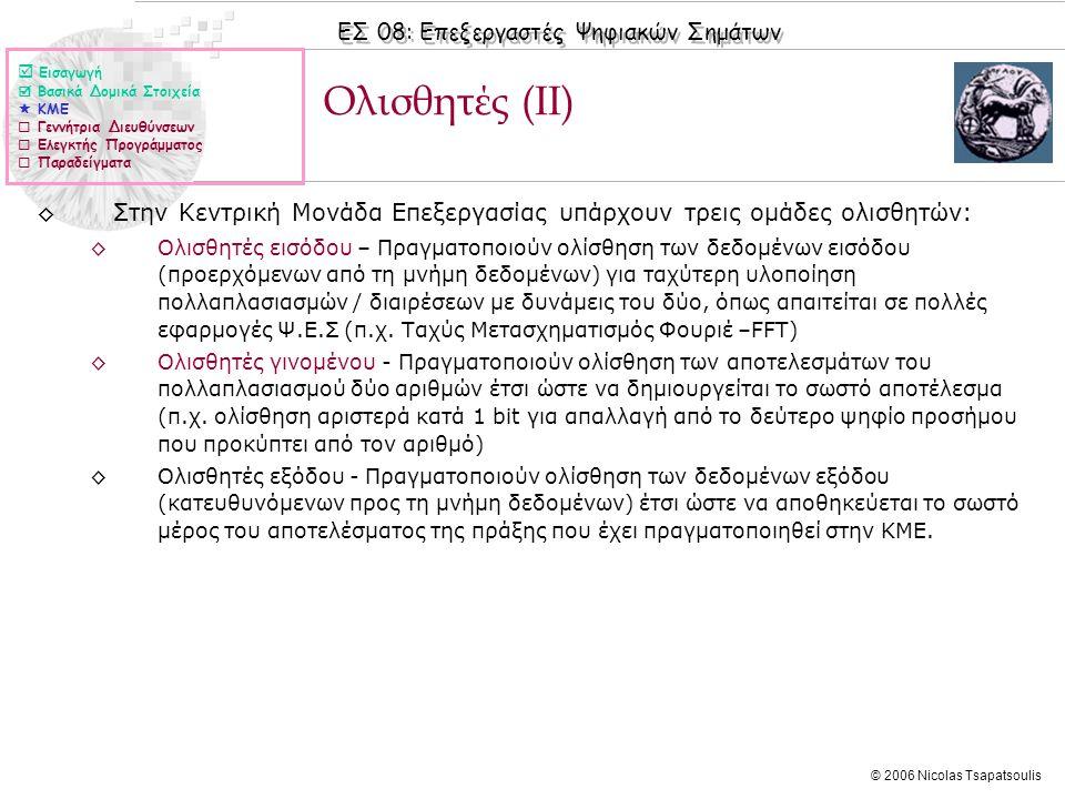 ΕΣ 08: Επεξεργαστές Ψηφιακών Σημάτων © 2006 Nicolas Tsapatsoulis Ολισθητές (ΙΙ) ◊Στην Κεντρική Μονάδα Επεξεργασίας υπάρχουν τρεις ομάδες ολισθητών: ◊Ολισθητές εισόδου – Πραγματοποιούν ολίσθηση των δεδομένων εισόδου (προερχόμενων από τη μνήμη δεδομένων) για ταχύτερη υλοποίηση πολλαπλασιασμών / διαιρέσεων με δυνάμεις του δύο, όπως απαιτείται σε πολλές εφαρμογές Ψ.Ε.Σ (π.χ.