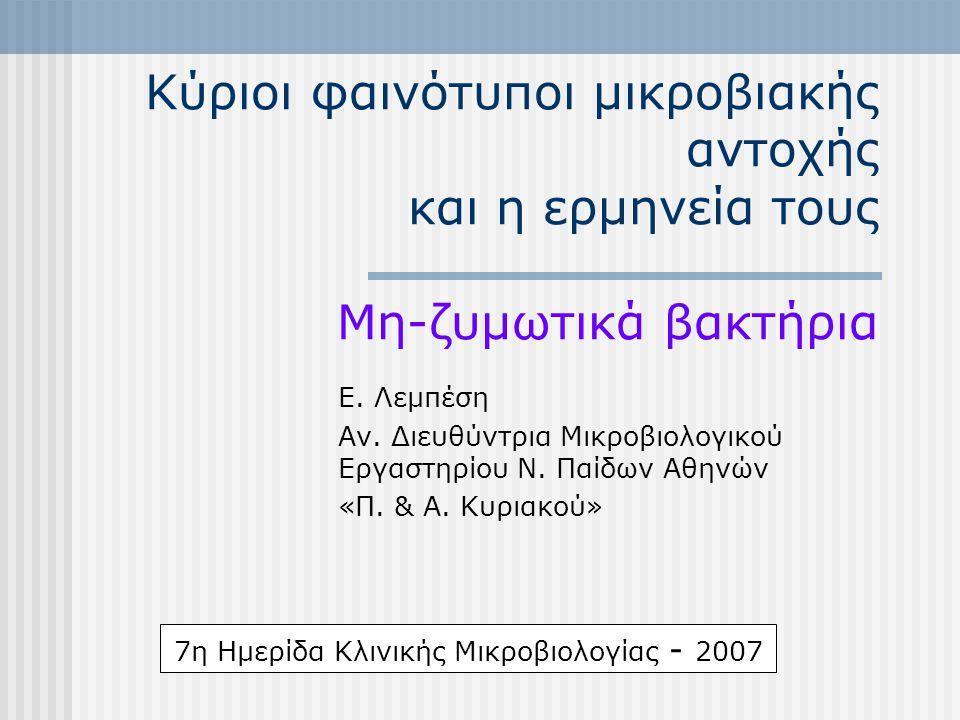 Κύριοι φαινότυποι μικροβιακής αντοχής και η ερμηνεία τους Μη-ζυμωτικά βακτήρια Ε. Λεμπέση Αν. Διευθύντρια Μικροβιολογικού Εργαστηρίου Ν. Παίδων Αθηνών