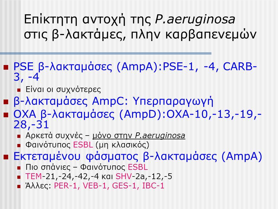 Επίκτητη αντοχή της P.aeruginosa στις β-λακτάμες, πλην καρβαπενεμών PSE β-λακταμάσες (AmpA):PSE-1, -4, CARB- 3, -4 Είναι οι συχνότερες β-λακταμάσες Am