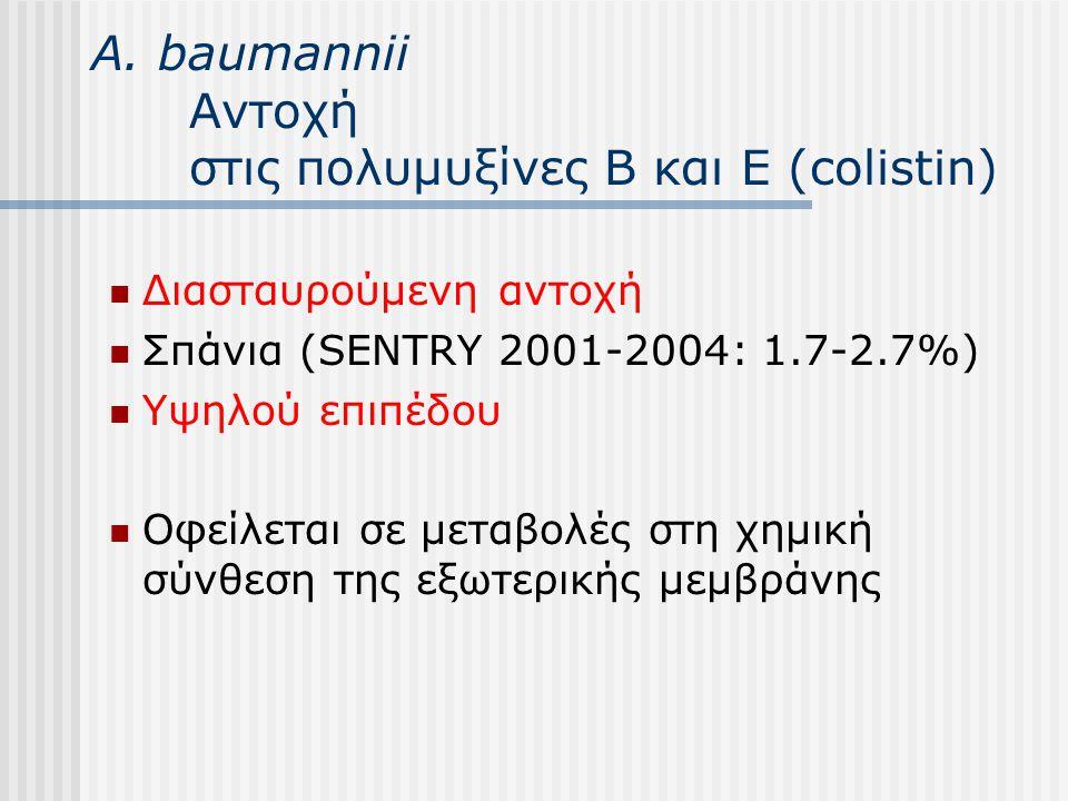 Α. baumannii Αντοχή στις πολυμυξίνες Β και Ε (colistin) Διασταυρούμενη αντοχή Σπάνια (SENTRY 2001-2004: 1.7-2.7%) Yψηλού επιπέδου Οφείλεται σε μεταβολ