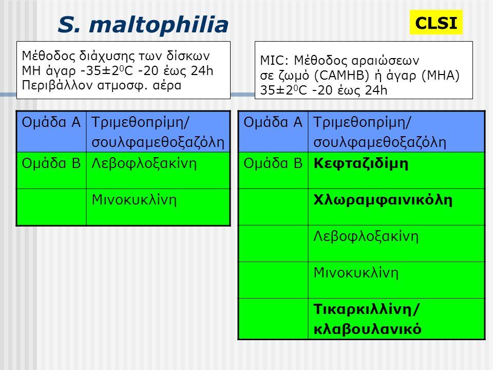S. maltophilia Μέθοδος διάχυσης των δίσκων MH άγαρ -35±2 0 C -20 έως 24h Περιβάλλον ατμοσφ. αέρα MIC: Μέθοδος αραιώσεων σε ζωμό (CAMHB) ή άγαρ (ΜΗΑ) 3