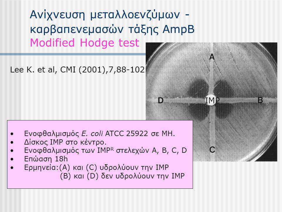 Ανίχνευση μεταλλοενζύμων - καρβαπενεμασών τάξης AmpΒ Modified Hodge test Lee K. et al, CMI (2001),7,88-102 Ενοφθαλμισμός E. coli ATCC 25922 σε ΜΗ. Δίσ