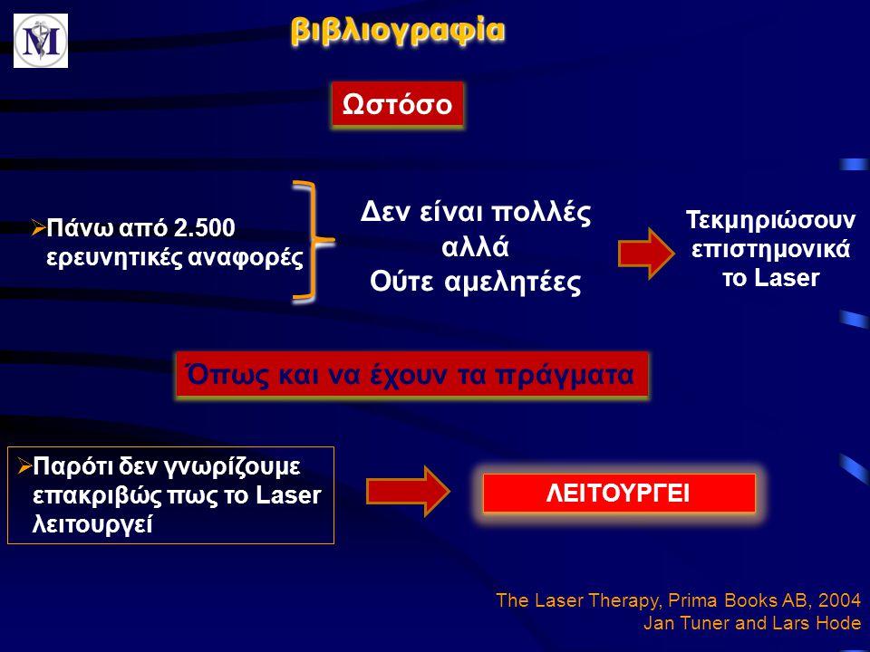 βιβλιογραφίαβιβλιογραφία  Πάνω από 2.500 ερευνητικές αναφορές Δεν είναι πολλές αλλά Ούτε αμελητέες Τεκμηριώσουν επιστημονικά το Laser  Παρότι δεν γν